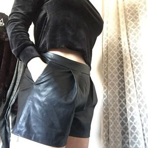 Zara vegan leather black pleated shorts